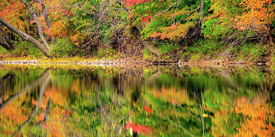 Landscapes Royalty-Free and Rights-Managed Images - Autumn Landscape Reflections Panorama by Gregory Ballos