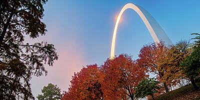 Royalty-Free and Rights-Managed Images - Autumn Landscape Surrounding the Saint Louis Gateway Arch - Panoramic Format by Gregory Ballos