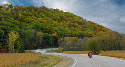 Car Photos Douglas Pittman - Autumn Motorcycle Rider / Red by Patti Deters