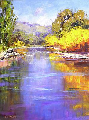 Basketball Patents Royalty Free Images - Autumn on the Tumut River Royalty-Free Image by Graham Gercken