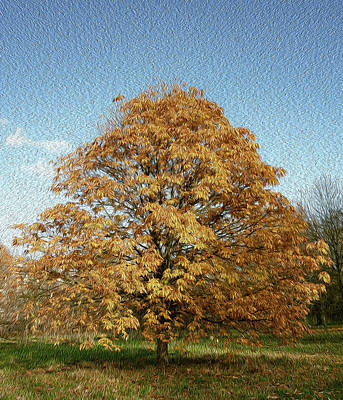 Impressionist Landscapes - Autumn  Tree by Hader Antivar