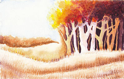 Painting Royalty Free Images - Autumn Trees and Grasses Royalty-Free Image by Conni Schaftenaar
