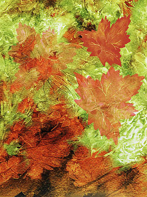 Royalty-Free and Rights-Managed Images - Autumn Wind Abstract Fall Colors Decor  by Irina Sztukowski