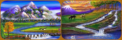 Route 66 Royalty Free Images - Autumn Wonderful World and Golden Falls Triptych  Royalty-Free Image by Gary F Richards