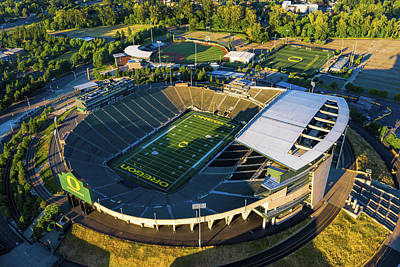 Sports Royalty-Free and Rights-Managed Images - Autzen Stadium Oregon Ducks by Mike Centioli