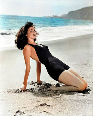 Royalty-Free and Rights-Managed Images - Ava Gardner at the beach by Stars on Art