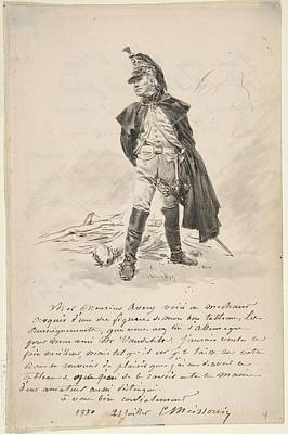 Keith Richards - Avery with a drawing of a military figure Ernest Meissonier by Artistic Panda