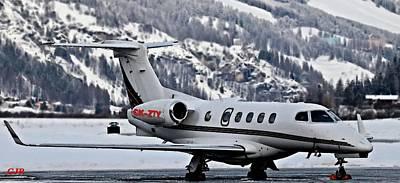 Transportation Digital Art - Aviation Art Catus 2 No.3 - Private Learjet C K - Z T Y  -  L A S by Gert J Rheeders