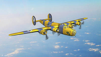 Wild Horse Paintings - B-24D Lucky Gordon - Art by Tommy Anderson