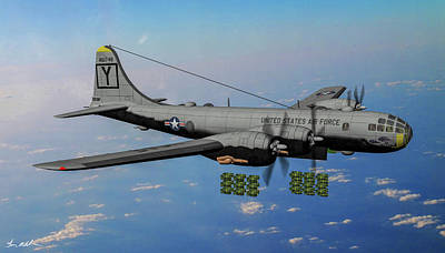 Airplane Paintings - B-29 Its Hawg Wild - Art by Tommy Anderson