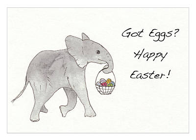 Animals Drawings - Baby Abby Happy Easter by Conni Schaftenaar