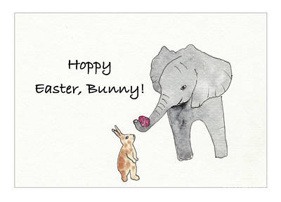 Animals Drawings - Baby Abby Says Hoppy Easter by Conni Schaftenaar