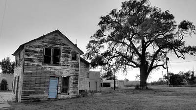 Featured Tapestry Designs - Baby Blue Door of Brownell, Kansas  by Ally White