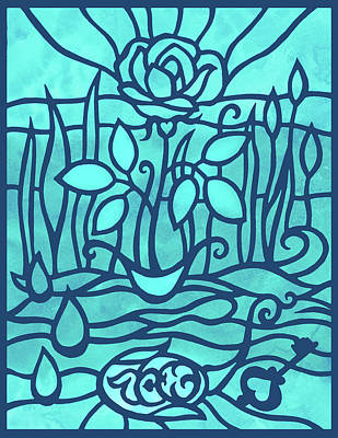 Royalty-Free and Rights-Managed Images - Baby Blue Rose In The Garden Watercolor Art by Irina Sztukowski