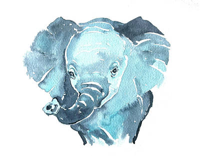 Bath Time Rights Managed Images - Baby Elephant Royalty-Free Image by Luisa Millicent