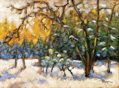 Painting - Backyard in Winter by Mike Bergen