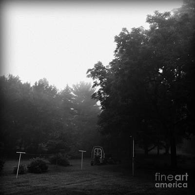 Frank J Casella Royalty-Free and Rights-Managed Images - Backyard Morning Fog - Black and White  by Frank J Casella