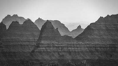 Catch Of The Day - Badlands Fog in Black and White by Matt Hammerstein