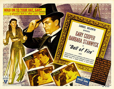 Mixed Media Royalty Free Images - Ball of Fire, with Gary Cooper and Barbara Stanwyck, 1941 Royalty-Free Image by Stars on Art