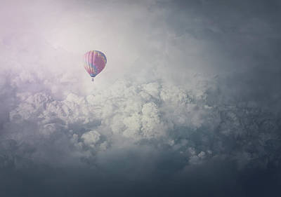 Surrealism Royalty-Free and Rights-Managed Images - Balloon Above The Clouds by PsychoShadow ART