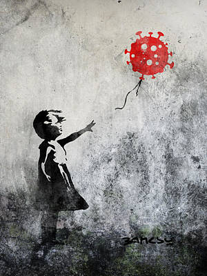Digital Art - Bansky girl covid baloon by Andrea Gatti