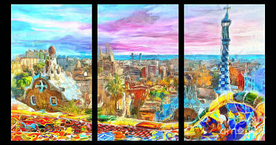 Landmarks Painting Royalty Free Images - Barcelona from Park Guell Triptych Royalty-Free Image by Stefano Senise