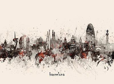 Moody Trees - Barcelona Skyline Artistic V5 by Bekim M