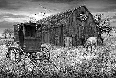 Thomas Kinkade Rights Managed Images - Barn Quilt with Amish Buggy and Horse in Black and Whiteon Amish Royalty-Free Image by Randall Nyhof