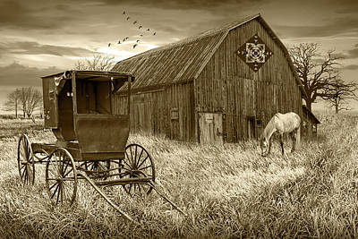 Thomas Kinkade Rights Managed Images - Barn Quilt with Amish Buggy and Horse in Sepia Tone on Amish Far Royalty-Free Image by Randall Nyhof