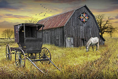 Thomas Kinkade Rights Managed Images - Barn Quilt with Amish Buggy and Horse on Amish Farm at Sunset Royalty-Free Image by Randall Nyhof