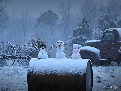 Photograph - Barrel Snowmen by Matt Taylor