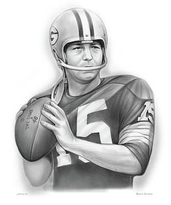 Drawings Royalty Free Images - Bart Starr 2 Royalty-Free Image by Greg Joens