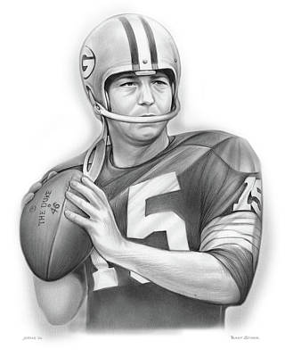 Drawings Royalty Free Images - Bart Starr 24x30 Royalty-Free Image by Greg Joens