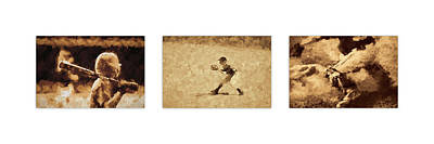 Sports Royalty-Free and Rights-Managed Images - Baseball Abstracts Triptych by Francis Sullivan
