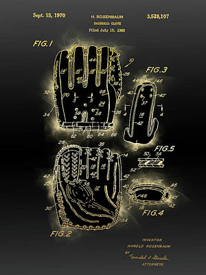 Sports Royalty-Free and Rights-Managed Images - Baseball Glove Patent Black Gold by Bekim M