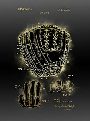 Sports Royalty-Free and Rights-Managed Images - Baseball Glove Vintage Patent by Bekim M