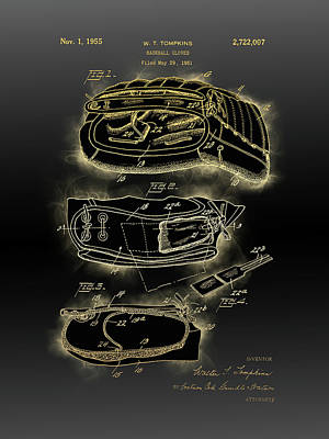 Sports Royalty-Free and Rights-Managed Images - Baseball Gloves Patent Black Gold by Bekim M