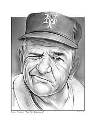 Sports Drawings - Baseball Great Casey by Greg Joens