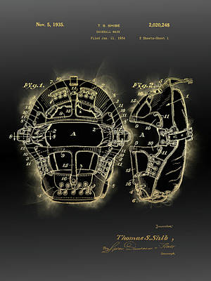Sports Royalty-Free and Rights-Managed Images - Baseball Mask Patent Black Gold 3 by Bekim M