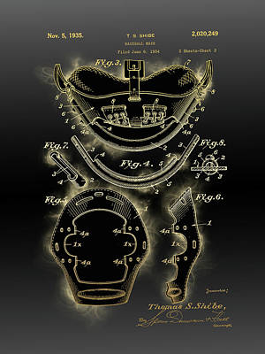 Sports Royalty-Free and Rights-Managed Images - Baseball Mask Patent Black Gold 4 by Bekim M
