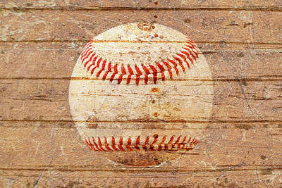 Sports Royalty-Free and Rights-Managed Images - Baseball on weathered timber. by Joe Vella