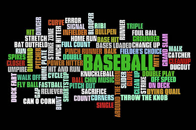 Sports Royalty-Free and Rights-Managed Images - Baseball Terms Typography by Ricky Barnard