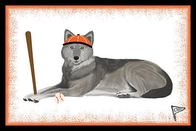 Sports Royalty-Free and Rights-Managed Images - Baseball Wolf Orange by College Mascot Designs