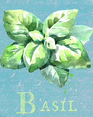 Mixed Media Royalty Free Images - Basil the Herb Royalty-Free Image by Brandi Fitzgerald