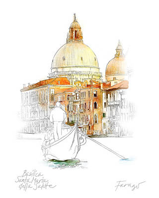 Drawing - Basilica di Santa Maria by Peter Farago