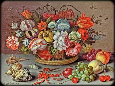 Digital Art - Basket of Flowers by Allen Nice-Webb