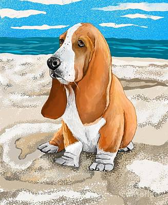Surrealism Royalty Free Images - Basset by the beach Royalty-Free Image by Heidi Creed