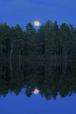 Featured Tapestry Designs - Bassett Pond Moonrise by John Burk