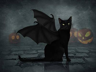 Surrealism Digital Art - Bat cat by Mihaela Pater