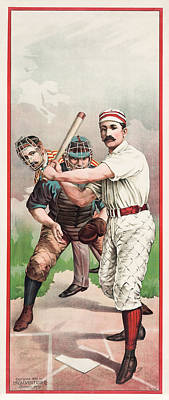 Sports Royalty-Free and Rights-Managed Images - Batter In The Box - Vintage Color Baseball Print - 1895 by War Is Hell Store